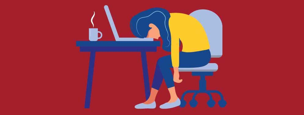 Cartoon of a woman leaning on her desk with her head on her laptop